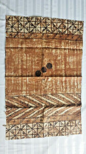 Vintage Fijian Polynesian Hawaiian Tapa Kapa Cloth Panel Very Rare 27 X 45