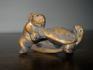 Netsuke Rat Mouse Tortoise Turtle Ii Figurine Boxwood Japanese Handcarved Signed