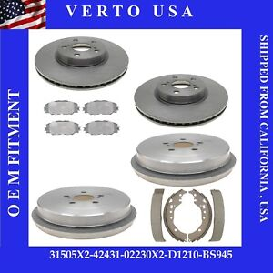 Front Brake Rotors Rear Brake Drums For Toyota Corolla 2009 2010 2011 To 2019