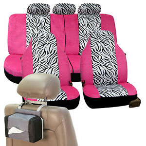 White Pink Zebra Car Seat Cover For Girl Free Gift Tissue Dispenser
