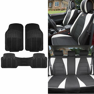 Leather Seat Cushion Covers W black Floor Mats For Auto Suv Van