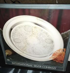 International Silver Company 15 Round Silver Serving Platter Tray New Vintage