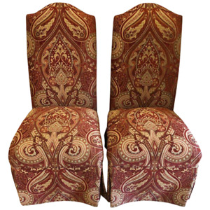 Drexel Burgundy And Gold Print Upholstery Side Office Chairs A Pair