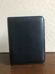 Franklin Covey Black Genuine Leather Compact Planner Binder Organizer 6 Rings