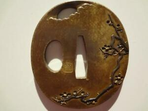 Tsuba Signed Japanese Sword Katana Koshirae Guard Moon Plum Edo Period