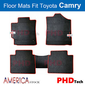 Premium Quality All Weather Rubber Floor Mats For Toyota Camry Red Trim
