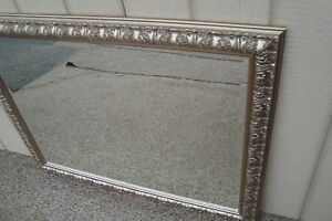 59668 Large Beveled Glass Mirror In Fancy Picture Frame