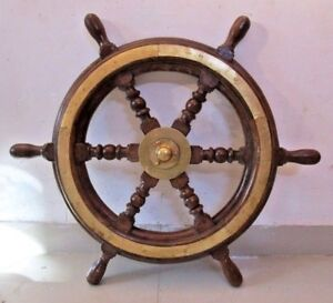 Vintage Style Ship S Steering Helm Wooden Brass 2 Feet Large 2477