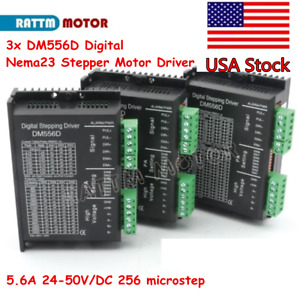 3x Dm556d Digital Nema17 23 Stepper Motor Driver 5 6a 24 50vdc 256 Microstep us