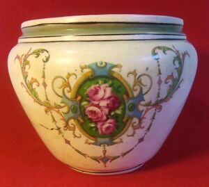 Antique French Victorian Porcelain Jardiniere Hand Painted Planter 6 Tall