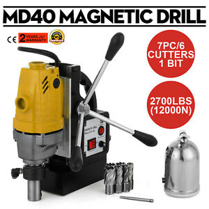 Md40 Magnetic Drill Press 7pc 1 Hss Cutte Set Electromagnetic 1100w Power Tools
