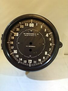 Nos 8 1 2 Inch Elm Manufacturing Military Navy Plastic Clock Case W 24 Hr Dial