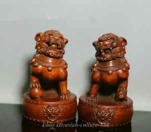 China Wood Boxwood Hand Carved Fengshui Foo Fu Dog Guardion Door Lion Pair Bixie
