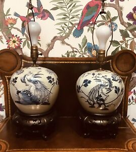 Antique Pair Of Chinese Blue And White Ginger Jar Lamp With Fabulous Mounts