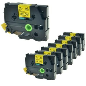 Us Stock 8pk Tz Tze 641 Black On Yellow Label Tape For Brother P touch 3 4 18mm