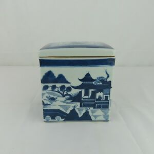 Chinese Canton Blue And White Square Covered Boxe Vintage Estate Find