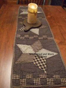 Primitive Country Black Tan Farmhouse Quilted Star Table Runner 36 X 13