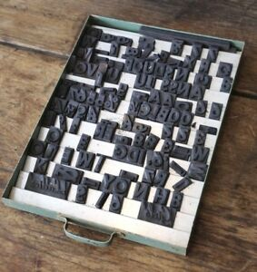 Vintage Letterpress Letters Magnetic Rubber Print Blocks Industrial Drawer B