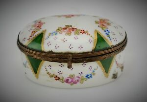 Antique Sevres Style Hand Painted French Porcelain Oval Trinket Pill Box