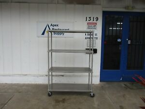 Stainless Steel 4 Shelf Rolling Rack W locking Casters 3681