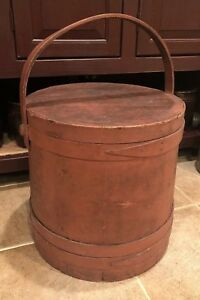Antique Original Brick Red Paint Large Wooden Sugar Bucket Firkin Giant Size