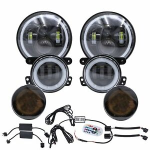 For Jeep Wrangler Jk 7 Rgb Halo Led Headlights Fog Light Turn Signal Combo Kit