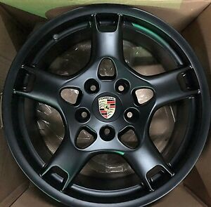 19 Porsche Lobster 991 996 Boxster Cayman Wheels Rims Flat Black New Set 4 Oem