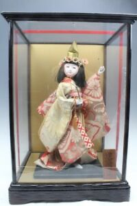 16 H Japanese Traditional Doll In Original Glass Box Rare Japan