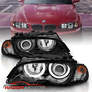 2000 2003 Dual Halo Black Projector Headlights Pair For Bmw E46 3 Series Coupe