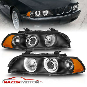 1997 2003 Black Dual Halo Projector Headlights For Bmw E39 5 series 528i 540i