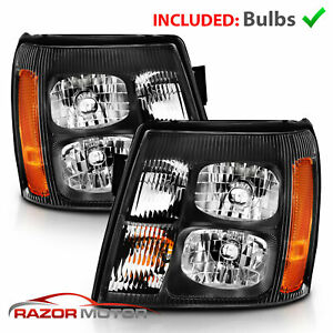 2003 2004 2005 2006 Black Headlights Pair For Cadillac Escalade Factory Hid