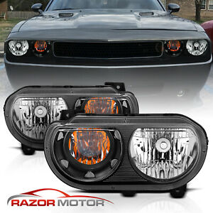 For 2008 2014 Dodge Challenger Jdm Headlights Lamp Replacement Black Left Right