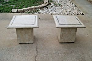 Pair Of Mid Century Modern Maitland Smith Tesselated Stone Side End Tables