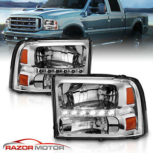 1999 2004 Chrome Headlight For Ford F250 F350 Superduty Excursion Led Drl