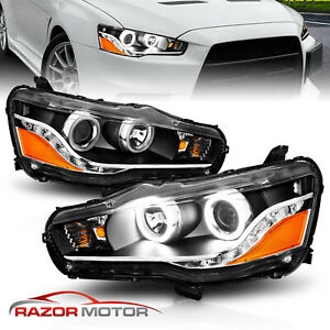 2008 2016 LED Halo Projector Headlights For Mitsubishi Lancer Evo X $206.97