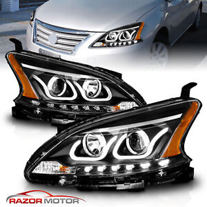 2013 2014 2015 Led Bar Parking Black Projector Headlights Pair For Nissan Sentra