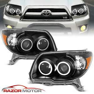 2006 2009 Dual Led Halo Black Projector Headlights Pair For Toyota 4runner Suv