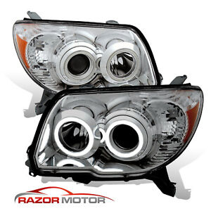 2006 2009 Dual Led Halo Chrome Projector Headlights Pair For Toyota 4runner Suv