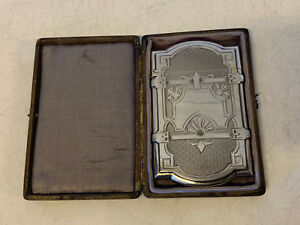 Antique Early Gorham Sterling Silver Card Case W Leather Case Box