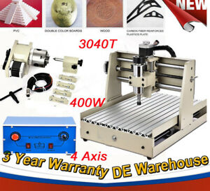 Cnc Router Engraver 3040 4 Axis Carve Drill Mill Vfd 400w Woodworking Machine