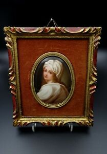 Antique Painted Porcelain Plaque Youth Hutschenreuther C 1900