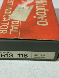Used Mitutoyo 513 118 Dial Test Indicator Set Knuckle Stems Wrench