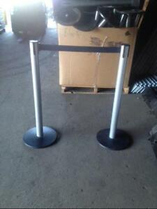 Stanchions Crowd Control Posts Lot 16 Used Store Fixtures Line Customer Divider