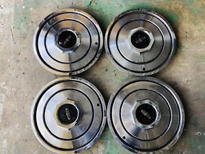 4 Oem 1981 To 1987 Lincoln Town Car Hubcaps Wheel Covers Set Very Nice