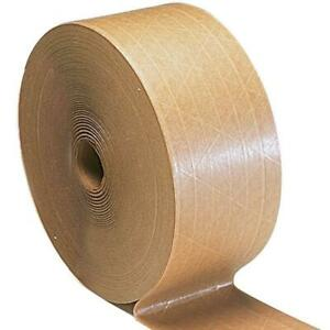 Industrial Grade Gummed Packing Tape 3 X 450 Tan brown Water Activated 90 Rls