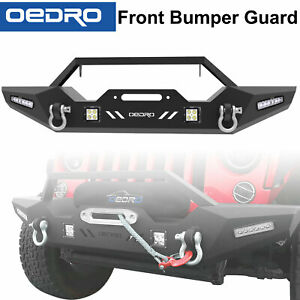 Textured Front Bumper Combo 4x Led Lights Fit For 2007 2018 Jeep Wrangler Jk