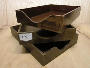 Lot 3 Vintage Wood Desk Organizer Legal Tray Dovetail Wood Office In Out Box 10