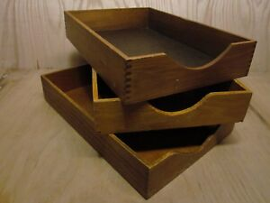 Lot 3 Vintage Wood Desk Organizer Legal Tray Dovetail Wood Office In Out Box 11