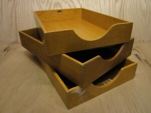 Lot 3 Vintage Wood Desk Organizer Legal Tray Dovetail Wood Office In Out Box 14
