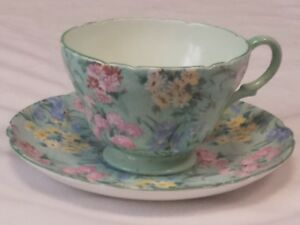Shelley Melody Rock Garden Cup And Saucer England Exc